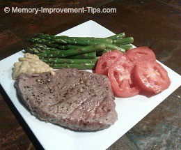 steamed asparagus and steak