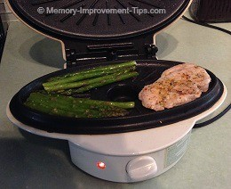 Asparagus & porkchop on my steam grill