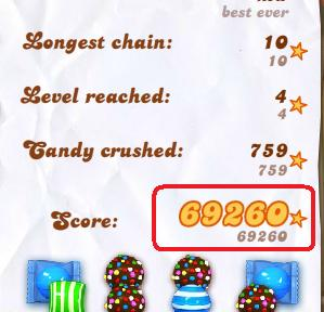 My Candy Crush high score