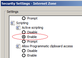 Internet Explorer options - enable javascript