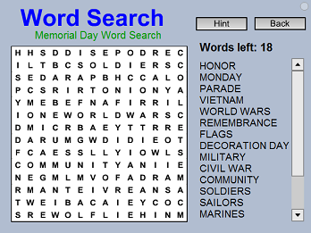memorial day word search free brain game