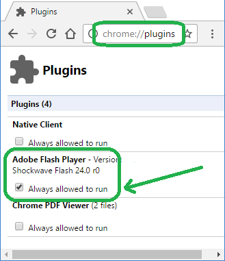 chrome plugins screen