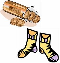 Putting chocolate biscuits in my socks