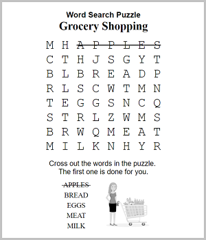 special needs word search example