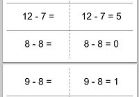 Subtraction flash card, horizontal example