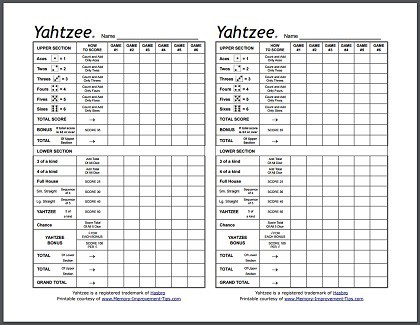 Yahtzee Score Sheets Free Yahtzee Game - Play Now